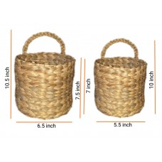 Set of 2 Vintage Handmade Hanging Woven Basket from Natural Water hyacinth, Perfect for Plants or Flowers